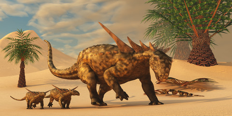 Sauropelta Dinosaur in Desert