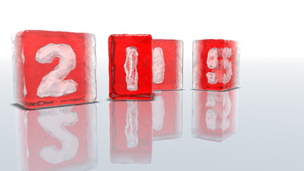Red ice blocks on white background with frozen-in numbers 2015