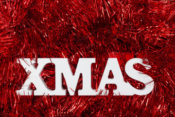 background - red garland and white xmas lettering