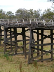 The rail bridge at Gundagai over the Murrumbidgee river