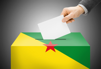 Ballot box painted into national flag colors - French Guiana