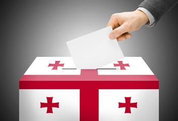 Ballot box painted into national flag colors - Georgia