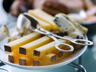 Slices of cheese on a plate