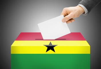 Ballot box painted into national flag colors - Ghana