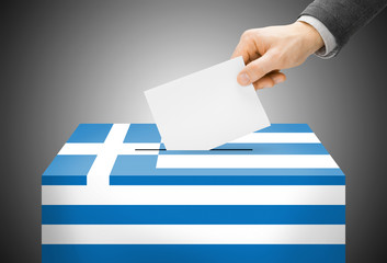 Ballot box painted into national flag colors - Greece