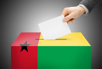 Ballot box painted into national flag colors - Guinea-Bissau