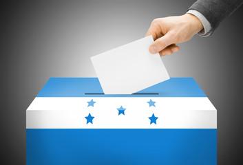 Ballot box painted into national flag colors - Honduras