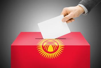 Ballot box painted into national flag colors - Kyrgyzstan