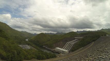 Srinagarind Dam, hydro power plant,  Time Lapse
