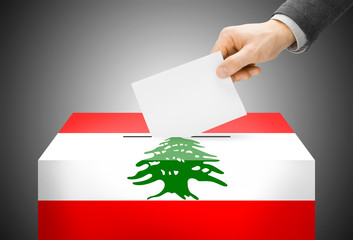 Ballot box painted into national flag colors - Lebanon