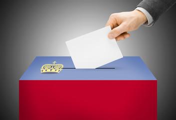 Ballot box painted into national flag colors - Liechtenstein