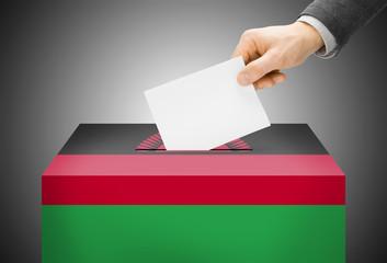 Ballot box painted into national flag colors - Malawi