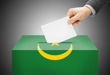 Ballot box painted into national flag colors - Mauritania