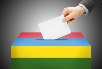 Ballot box painted into national flag colors - Mauritius