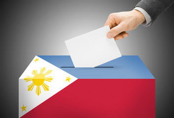 Ballot box painted into national flag colors - Philippines