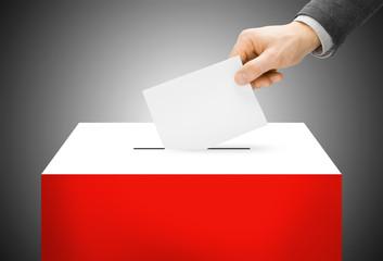 Ballot box painted into national flag colors - Poland