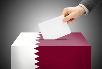 Ballot box painted into national flag colors - Qatar
