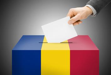 Ballot box painted into national flag colors - Romania