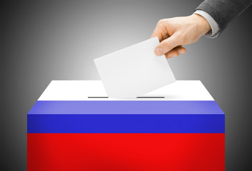 Ballot box painted into national flag colors - Russia
