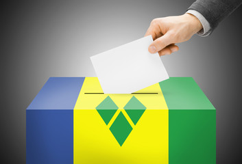 Ballot box painted as flag - Saint Vincent and the Grenadines