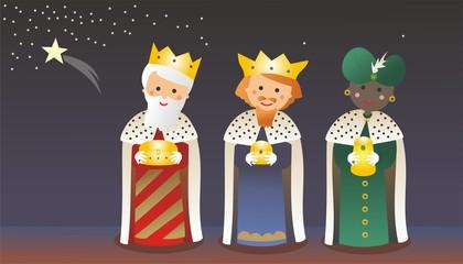 Reyes Magos con Estrella de Navidad