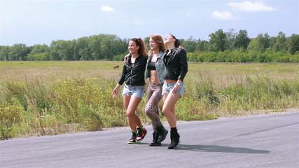 Girls dance on a street