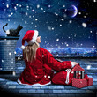 Santa sitting on a rooftop - Santagirl 01