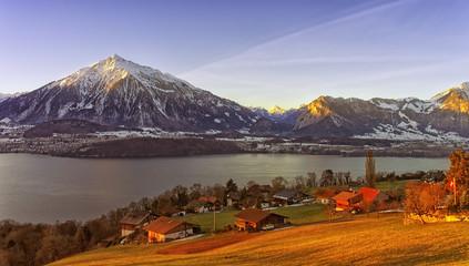 Thun lake view in winter morning sunrise