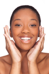 Young beautiful african woman, Isolated over white background