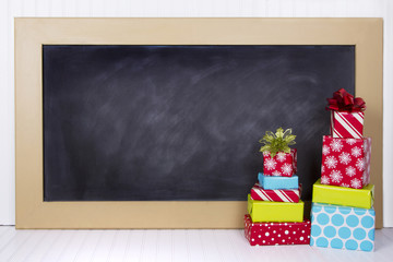Christmas presents with chalk board