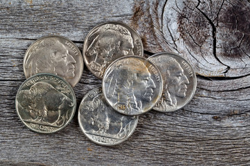 Indian Head Coins on Wood