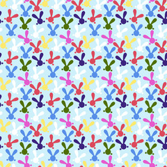 Colorful seamless pattern with easter bunny. Vector