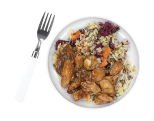 Chicken with rice TV dinner on small plate with fork