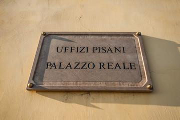 Targa Uffizi Pisani, Palazzo Reale, Pisa