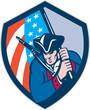 American Patriot Holding Brandish Flag Shield Retro