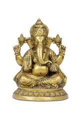 Figurine of Hindu god Ganesha isolated with clipping path.