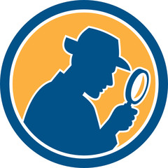 Detective Holding Magnifying Glass Circle Retro