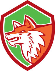 Red Fox Head Pouncing Shield Retro