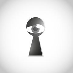 Curios eye looking through keyhole