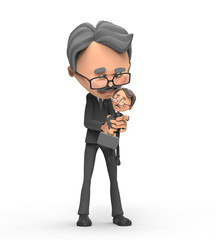 3d businessman angry holding young employee