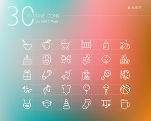 Baby outline icons set