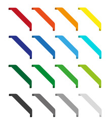 Set of isolated colorful ribbons. Round corners