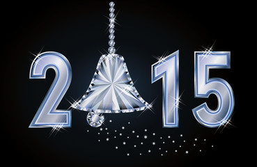 Happy 2015 new year card with diamond xmas bell, vector
