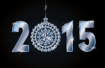 Happy 2015 new year card with diamond xmas ball