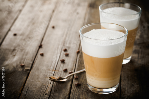 Foto op Canvas Koffie Two glasses of latte