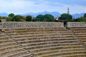 Greek amphitheater in Pompeii , Italy.