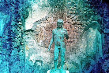 copper statue of the volcano destroyed Pompeii