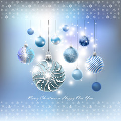 Christmas card with balls set and snowflakes in vector
