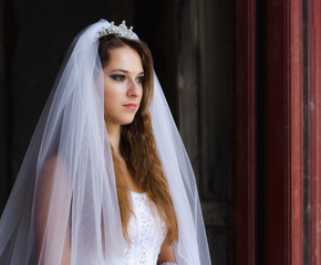 Beautiful young bride ready for wedding ceremony.