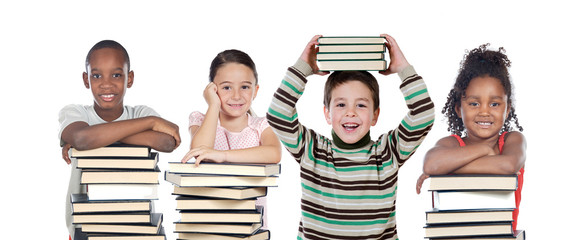Four children with many books